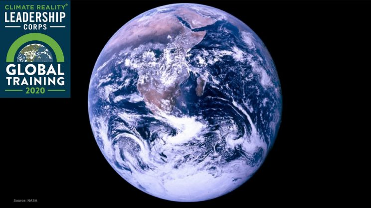 View of Earth from space with the Climate Reality logo