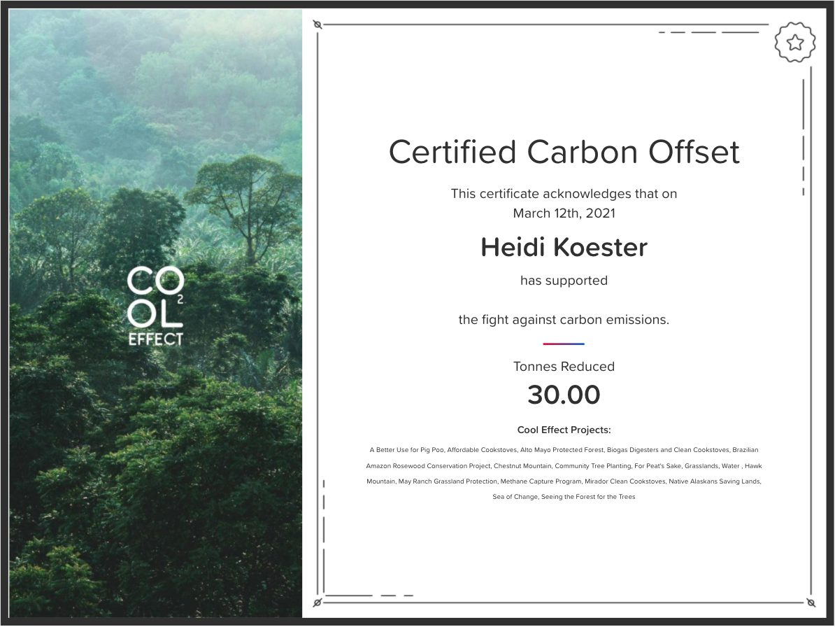 A certificate issued by CoolEffect, after I purchased 30 tons of carbon offsets from them.