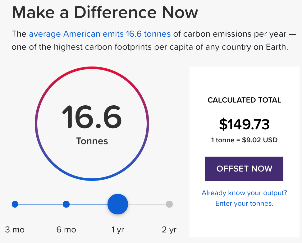 Default Interface in CoolEffect website to buy 16.6 tons of carbon offsets for $149.73.