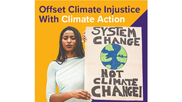 From CoolEffect website. Woman holding a sign that reads System Change not Climate Change